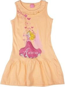 17a10c102 Disney Princess Girl s Midi Knee Length Casual Dress Orange ...