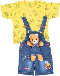 05359f625 Kuchipoo Dungaree For Boys Girls Printed Denim Yellow Pack of 1 Best ...
