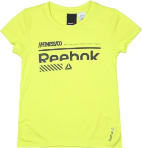 Reebok Girls Printed Polyester T Shirt Yellow Pack of 1 Best Price ... a12aaec7ef