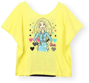 5bf9699d8 Barbie Girls Graphic Print Cotton Polyester Viscose Blend T Shirt ...