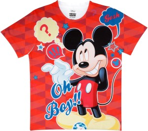 3a540d8447 MICKEY MOUSE FAMILY Boys Printed Polyester T Shirt Red Pack of 1 ...