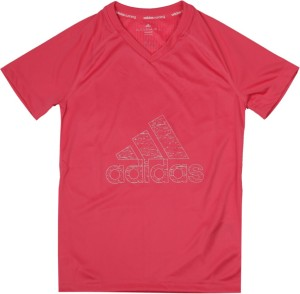 1d9f8cec Adidas Girls Printed Polyester T Shirt Pink Pack of 1 Best Price in ...