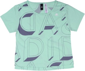 44c4a43c Adidas Girls Printed Cotton Polyester Blend T Shirt Green Pack of 1 ...
