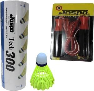 Jaspo plastic shuttle and skipping rope combo Badminton Kit