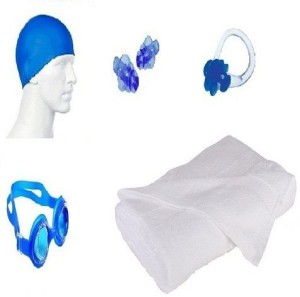 kyachaiyea (Silicon Cap, Silicon Ear Plug, Swimming Nose Clip, Swimming Goggles With 100% Pure Cotton Towel) Swimming Kit
