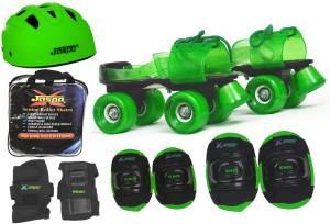 Jaspo Green Rider Pro Senior Skates Combo (skates+helmet+knee+elbow+wrist+bag)suitable for age 6 to 14 years Skating Kit