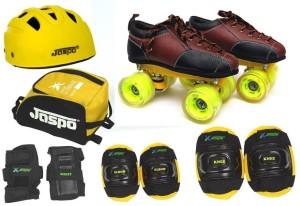 Jaspo Jaspo Whizz Pro Shoe Skates Combo size 9 uk (shoe skates+ helmet+knee+elbow+wrist+bag)Foot length 26.9 cms(For age 16 years and above) Skating Kit
