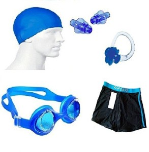 Kyachaiyea Silicon Cap, Silicon Ear Plug, Swimming Nose Clip, Swimming Goggles With Men Adult Swim Boxer Nylon Swimming Kit