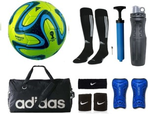 Retail World Brazuca Green Football (Size-5) Combo Football Kit
