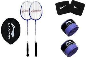 Li-Ning Smash XP 707 (Pack of 2) with 2 Extra Replacement Grip & Free Pair of Wrist Band Badminton Kit