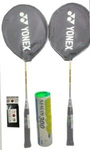 Yonex Mavis 300( Pack of 6) yellow Nylon Shuttle cock and GR 303 (pack of 2) Badminton Kit