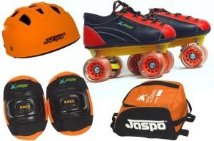Jaspo Saphire Eco Shoe Skates Combo Size 8 Uk (Shoe Skates+ Helmet+Knee+Bag) Foot Length 26.3 Cms ( For Age 15 Years And Above) Skating Kit