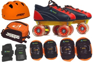 Jaspo Saphire Pro Shoe Skates Combo SIZE:11 (shoe skates+ helmet+knee+elbow+wrist+bag) Foot length 18.0 cms ( For age group 4-5 years) Skating Kit