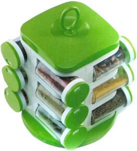 dk-eSTOR dk-eSTORE 12 Pcs Transparent Rotating Rack Storage With Stand Organizer Safe & Fresh Masala Box Plastic Kitchen Rack