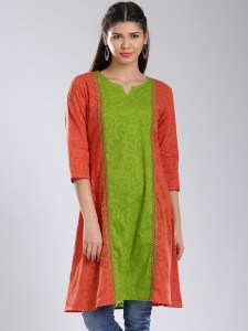 3657d7893b0 Anouk Printed Women s A line Kurta Green Best Price in India