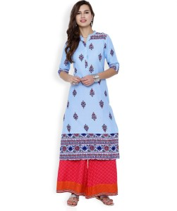 50d6e0f6c31 Vishudh Printed Women s Straight Kurta Blue Red Best Price in India ...