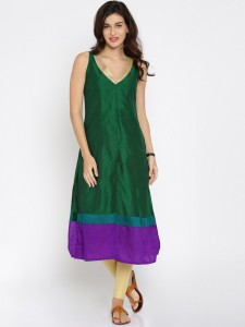 d1e985d0b43 Anouk Solid Women s A line Kurta Green Best Price in India