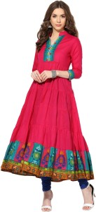 828a5f602 Aks Solid Women s Anarkali Kurta Pink Best Price in India