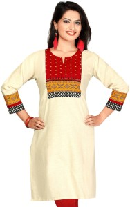 decf01255 ALC Creations Embellished Women s Kurti White Red Best Price in ...