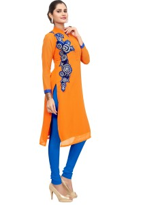 a39faf569 Jay Tex Casual Self Design Women s Kurti Orange Best Price in India ...
