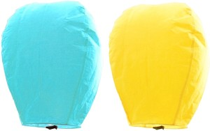 Little India Yellow n Turquoise Set of 2 Paper Made Sky Lanterns 209 Multicolor Paper Sky Lantern