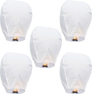 Little India Set of 5 White Paper Made Sky Lanterns 504 White Paper Sky Lantern
