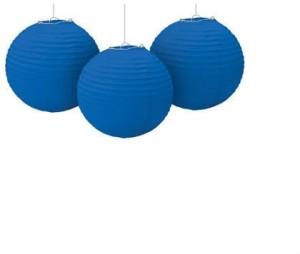 Shrih Set Of 3 Pcs Hanging Ball Lamp Blue Paper Lantern