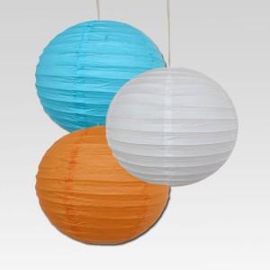 Dhol Dhamaka Orange, White, Blue Paper Lantern