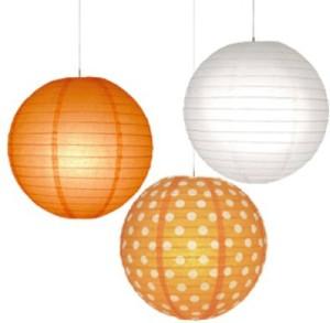 Christmas Tree Shops Orange, White Paper Lantern
