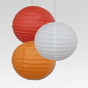 Christmas Tree Shops Red, White, Orange Paper Lantern