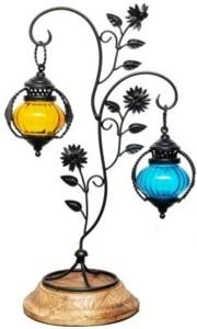 Asma Collection Multicolor Iron, Wooden, Glass Lantern