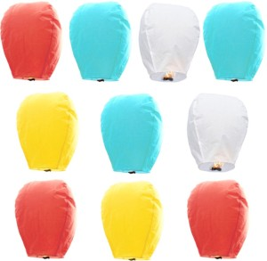 Little India Set of 10 Multicolor Paper Made Sky Lanterns 701 Multicolor Paper Sky Lantern