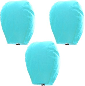 Little India Beautiful Set of 3 Turquoise Paper Sky Lanterns 303 Blue Paper Sky Lantern