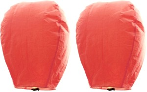 Little India Set of 2 Peach Color Paper Made Sky Lanterns 201 Orange Paper Sky Lantern
