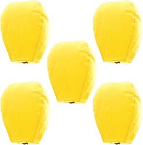 Little India Amazing Set of 5 Yellow Paper Made Sky Lanterns 505 Yellow Paper Sky Lantern