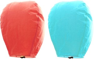 Little India Peach n Turquoise Set of 2 Paper Made Sky Lanterns 205 Multicolor Paper Sky Lantern