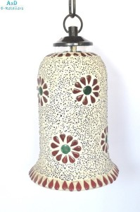 AnD Artvilla Mosaic Art Hanging Lamp 1006 Multicolor Glass Lantern
