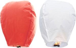 Little India Peach n White Set of 2 Paper Made Sky Lanterns 206 Multicolor Paper Sky Lantern