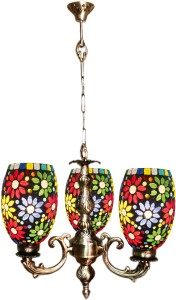 Weldecor Antiqua Brasso Big Floral Hangning 3 Glass Lamp White, Multicolor Brass, Aluminium Lantern