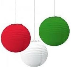 Christmas Tree Shops Red, Green, White Paper Lantern