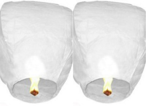 Singh Xpress Exciting Flying Paper Hot Air Balloon With Burning Kit (Combo Of 2) White Paper Sky Lantern