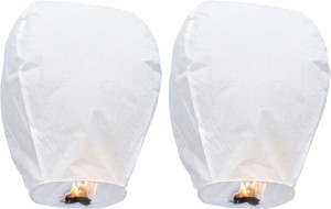 Little India Set of 2 White Paper Made Sky Lanterns 203 White Paper Sky Lantern