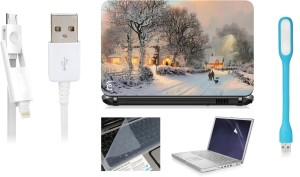 Print Shapes Snow nature Laptop Skin with Screen Guard ,Key Guard,Usb led and Charging Data Cable Combo Set