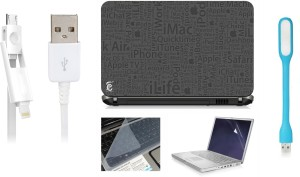 Print Shapes I Pad quotes Laptop Skin with Screen Guard ,Key Guard,Usb led and Charging Data Cable Combo Set