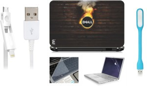 Print Shapes Burning dell Laptop Skin with Screen Guard ,Key Guard,Usb led and Charging Data Cable Combo Set