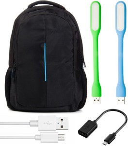 Anweshas 5 in 1 Combo of Laptop Bag Backpack with Two Usb Led Light, Otg and Charging Cabl Combo Set