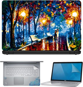 FineArts Painting Couple Street Walk 4 in 1 Laptop Skin Pack with Screen Guard, Key Protector and Palmrest Skin Combo Set