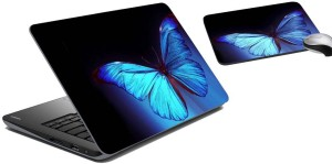meSleep Blue Butterfly Laptop Skin and Mouse Pad 49 Combo Set