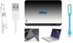 Print Shapes Dell White Laptop Skin with Screen Guard ,Key Guard,Usb led and Charging Data Cable Combo Set