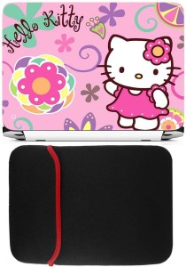 b06d4dee7 FineArts Hello Kitty Pink Laptop Skin with Reversible Laptop Sleeve Combo  Set
